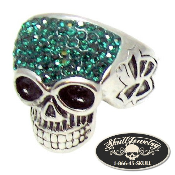 Stainless Steel Crystal Skull with Multi GREEN Cubic Zirconia Ring