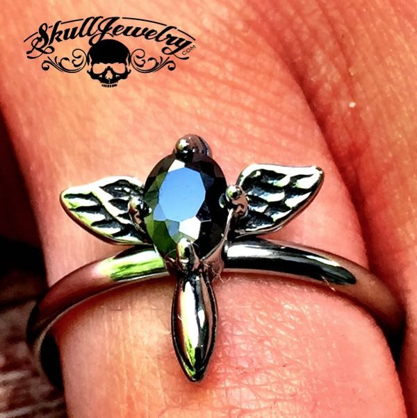 'Little Wing' with Black Gemstone Ring (308)