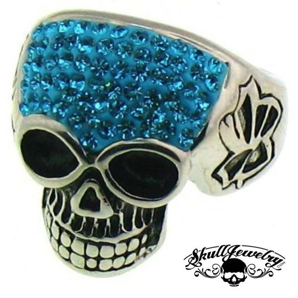 Stainless Steel Crystal Skull with Multi Blue Cubic Zirconia Ring