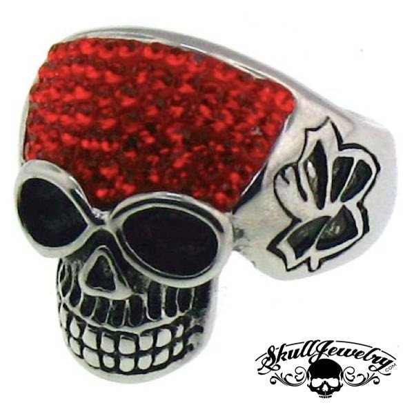 Stainless Steel Crystal Skull with Multi Red Cubic Zirconia Ring