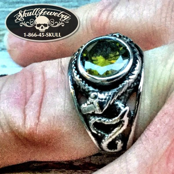 'Soldier Of Fortune' Green Stone & Snake Ring