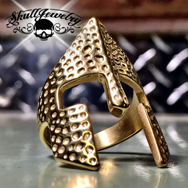 Gold-Tone 'Spartan Mask' Stainless Steel Ring
