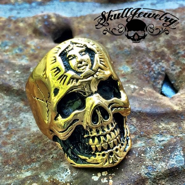 GOLD 'Don't You Forget About Me' Stainless Steel Skull Ring with Inner Face