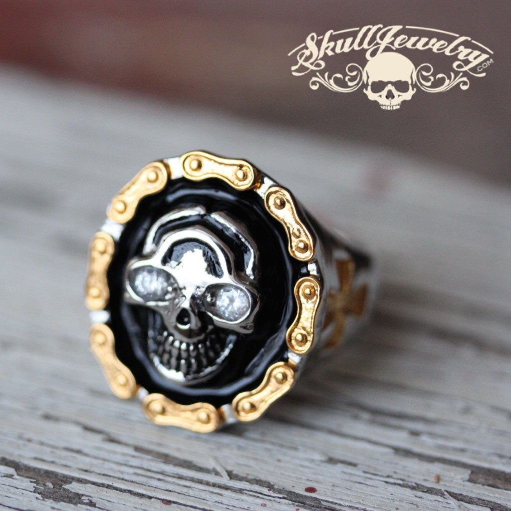 diamonds on my chain skull ring