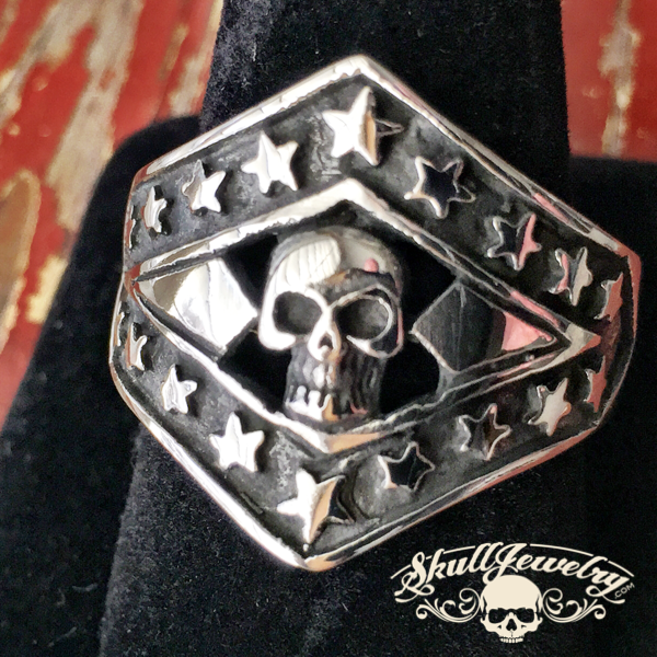 Patriotic Evil Kenevil Stainless with Stars Stainless Steel Ring (352)