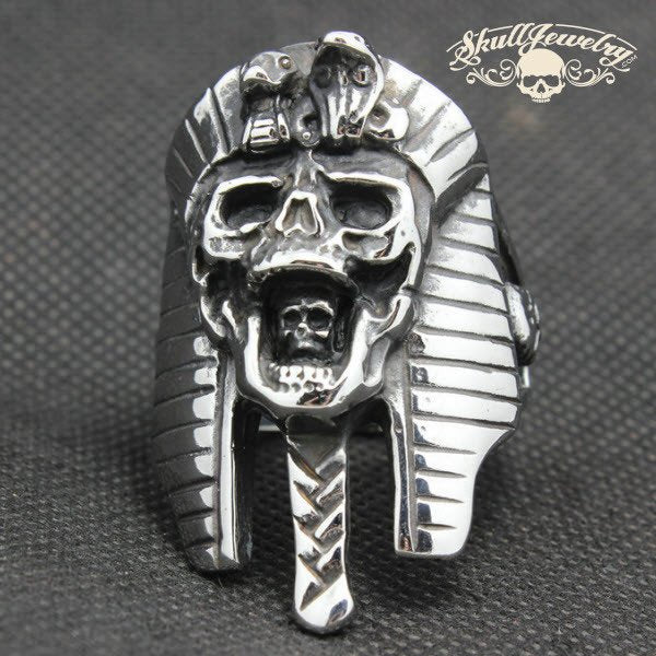 Egyptian Pharaoh Stainless Steel Skull Ring (353)