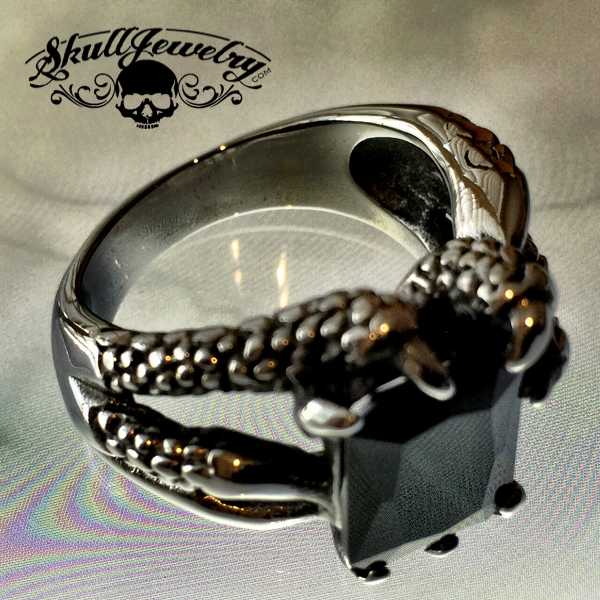 'Take It to the Limit' Black Gem Eagle Talon Ring