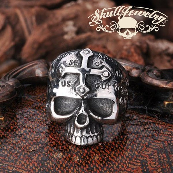 lords prayer skull ring