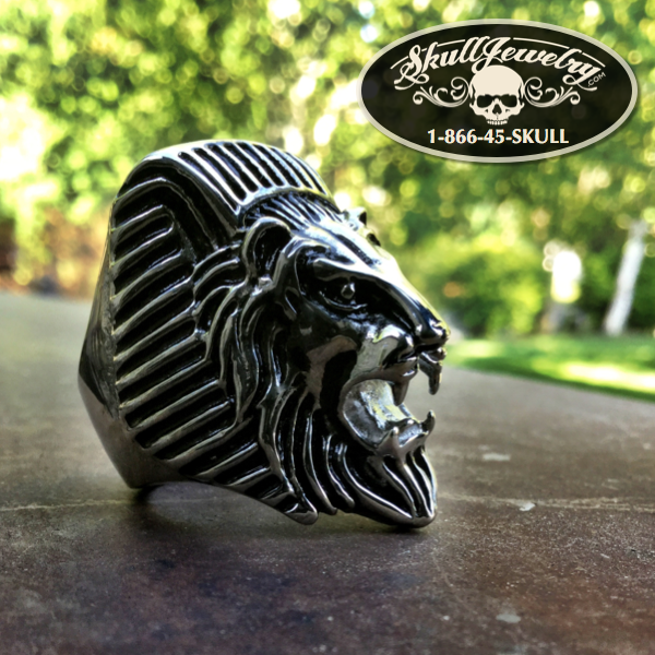 'Egyptian Lion' Stainless Steel Skull Ring
