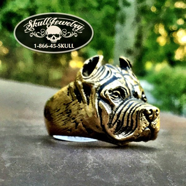 'We Are One' Badass Gold-Tone Pitbull Ring