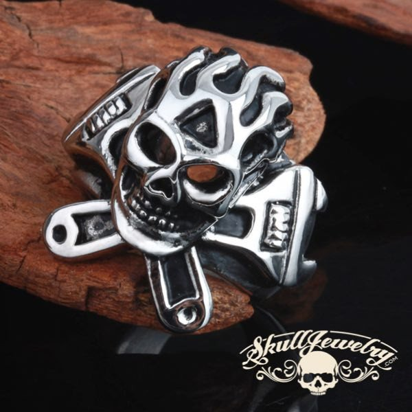 Stainless Steel Cool Ghost Rider Flaming Skull Ring With 2 Wrenches