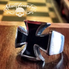 Stainless Steel Iron Cross Ring WWII And Black Enamel