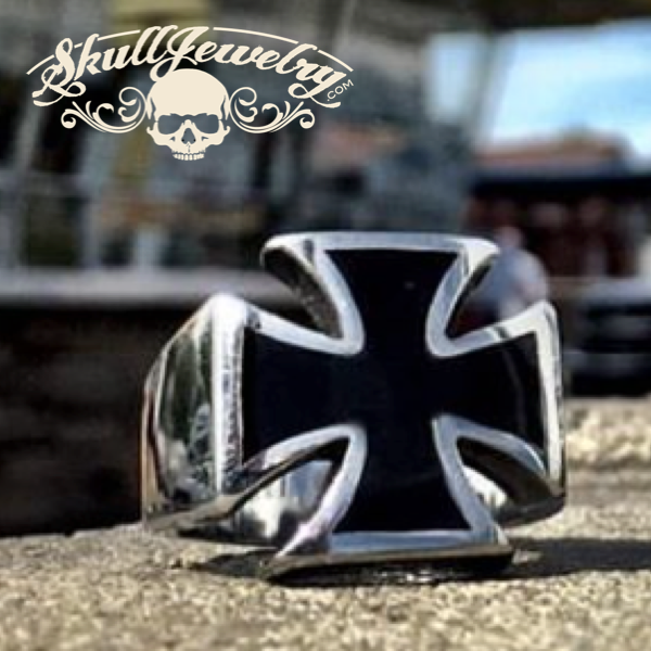 Badass Iron Cross Ring With Black Enamel