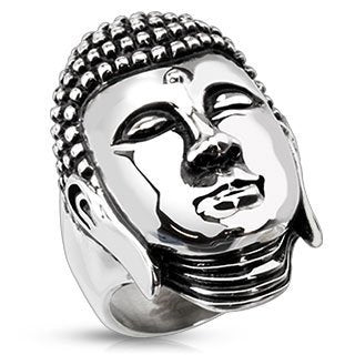 Meditating Buddha Stainless Steel Ring (228)