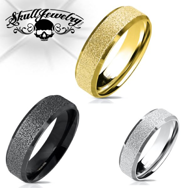 3 Colors Sandblasted Wedding Band
