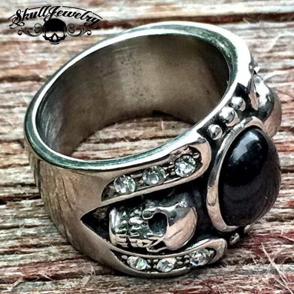 'Hollywood Nights' Stainless Steel Skull Ring with Black Gemstone and White Cubic Zirconia Stones