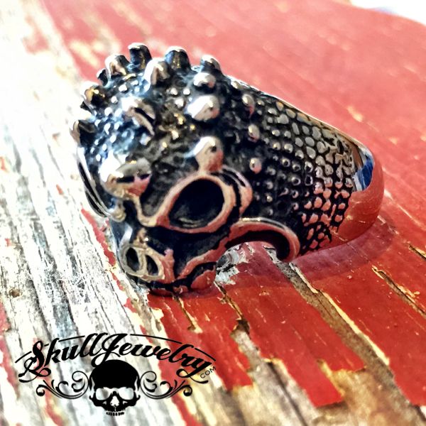'Beast Mode' Skull Ring with Scales and Horns (4025)