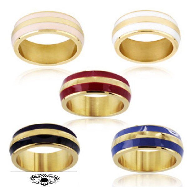 Enamel Double Striped Gold Plated Band Ring - Blue, Red, White or Pink