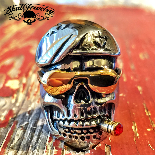 """DON'T TREAD ON ME"" – DAMN YANKEES Skull Ring With Gold Sun Glasses & Cigar (410)"