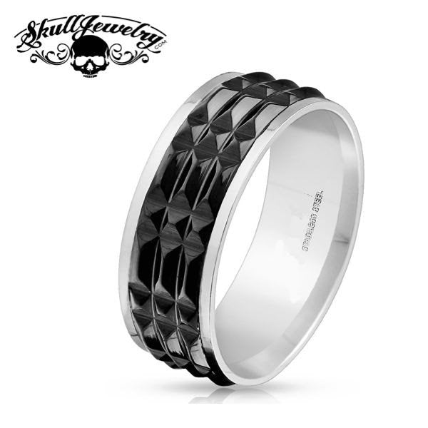 Black SPIKED Stainless Steel Ring