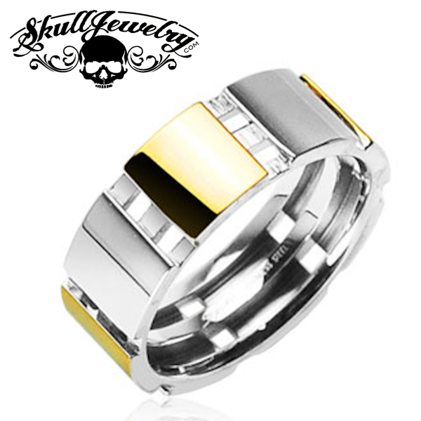 Square Gold Plated & 316L Surgical Stainless Steel Ring