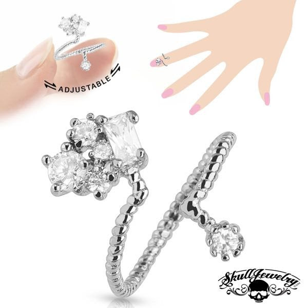 'Victoria' Adjustable Rhodium Plated Brass Nail/Toe Ring w/Cluster of Cubic Zirconia