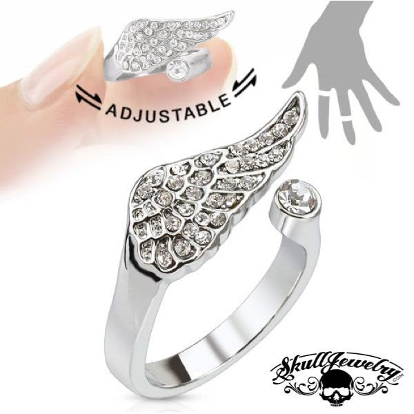 'Angel Wing' w/ Multi-Paved Gems - Adjustable Mid-Ring/Toe Ring