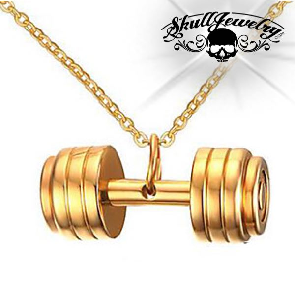 gold weight lifting pendant