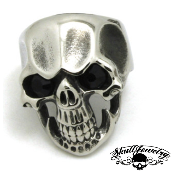 'Black Friday' Skull Ring with Black Gem Stone Eyes