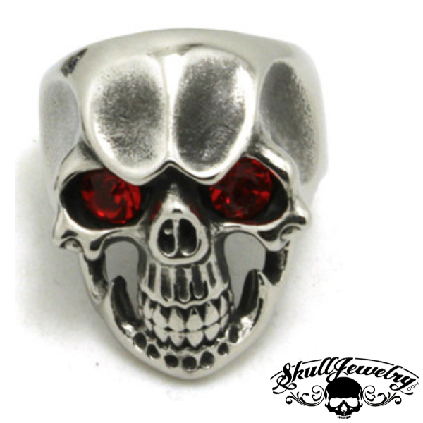 'Ruby Tuesday' Skull Ring with RED Gem Stone Eyes
