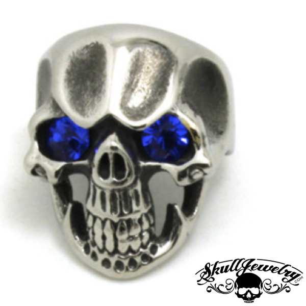 Blue Monday' Skull Ring with BLUE Gem Stone Eyes