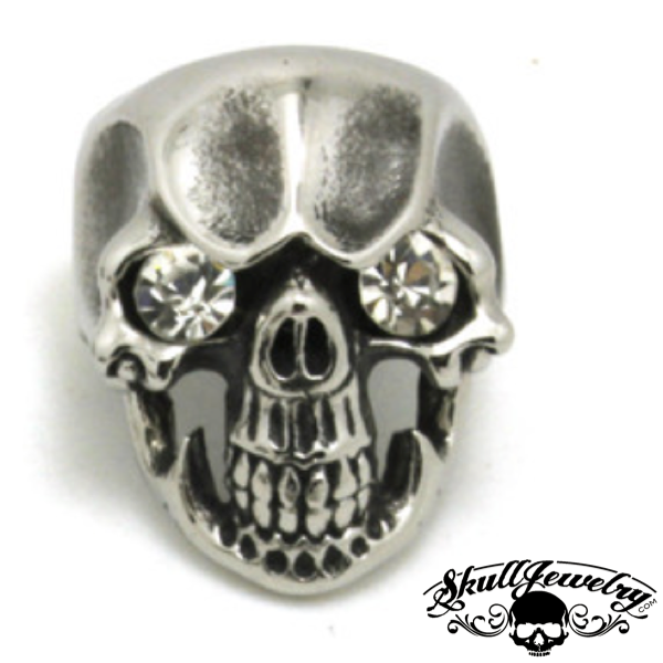 'White Diamonds' Skull Ring with WHITE Gem Stone Eyes