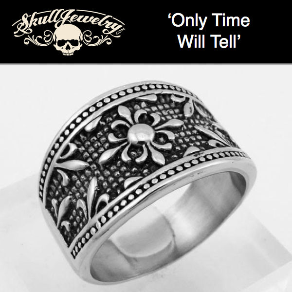 'Only Time Will Tell' Ornate Stainless Steel Ring