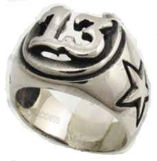 Lucky 13 Stainless Steel Ring With Horseshoe and Stars on the Sides Ring (429)