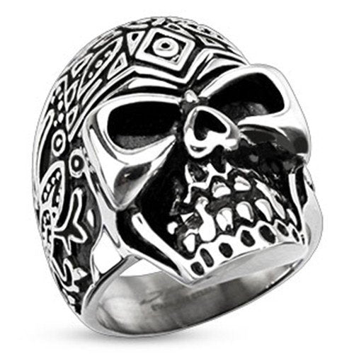 Stainless Steel Decorated 'Day of the Dead' Sugar Skull Ring (239)
