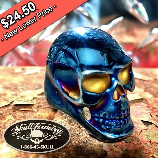 Big, Bold & Heavy STEEL BLUE Skull Ring (140blue)
