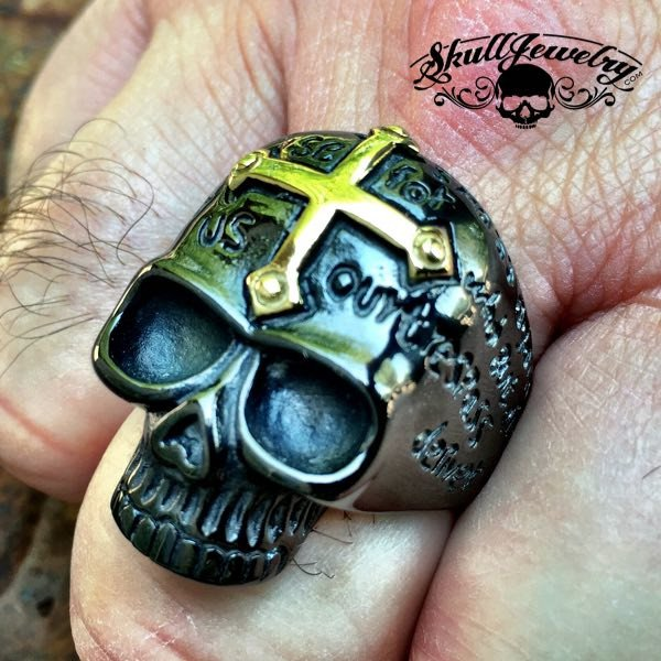 BLACK 'Lords Prayer' Skull Ring with Gold Cross on Forehead