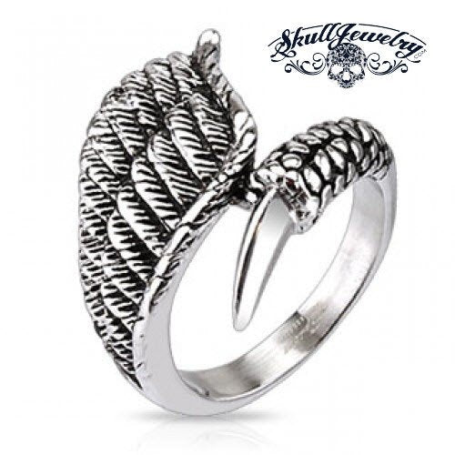Stainless Steel Eagle Wing with Claw Closure Ring - anillo del ala del águila