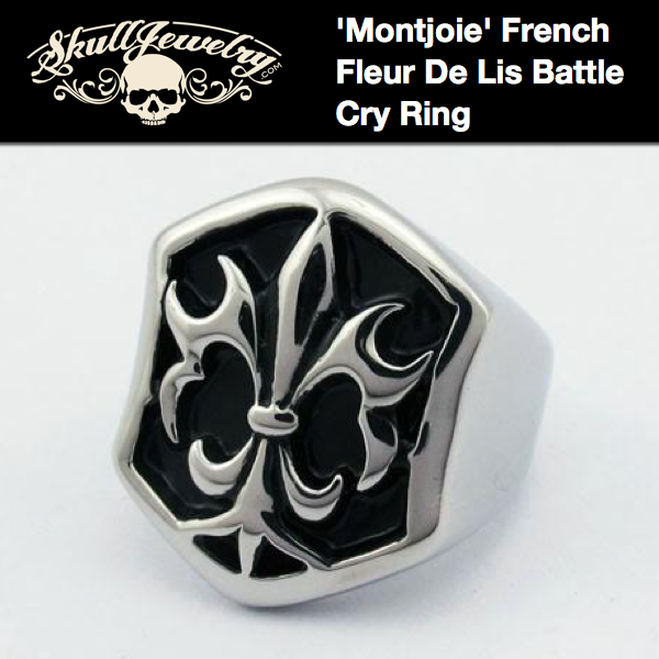 'Montjoie' French Fleur De Lis Battle Cry Ring