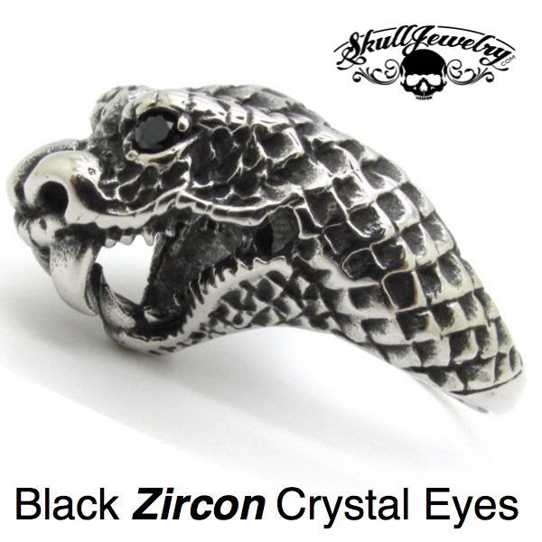 'Black Viper' Snake Ring with Zircon Crystal Eyes