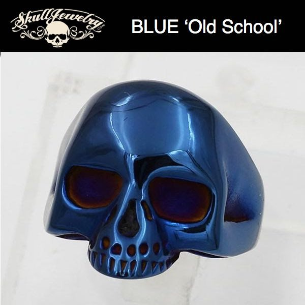 BLUE - Old School Badass Sturgis Stainless Steel Skull Ring