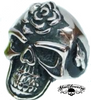 love hurts skull ring - rose skull ring