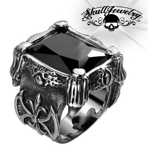 'Blood Templars' Black Gemstone Ring