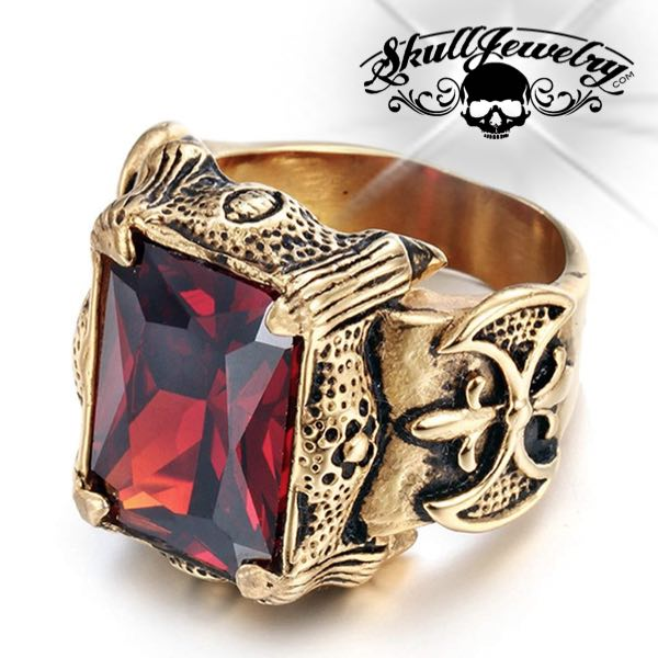 Gold-Tone 'Blood Templars' Gemstone Ring