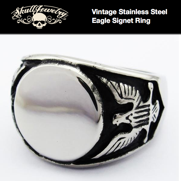 Vintage Stainless Steel Eagle Signet Ring