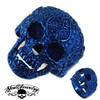 Vintage BLUE Flower Skull Ring Stainless Steel