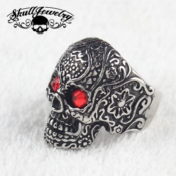 red eyes sugar skull ring