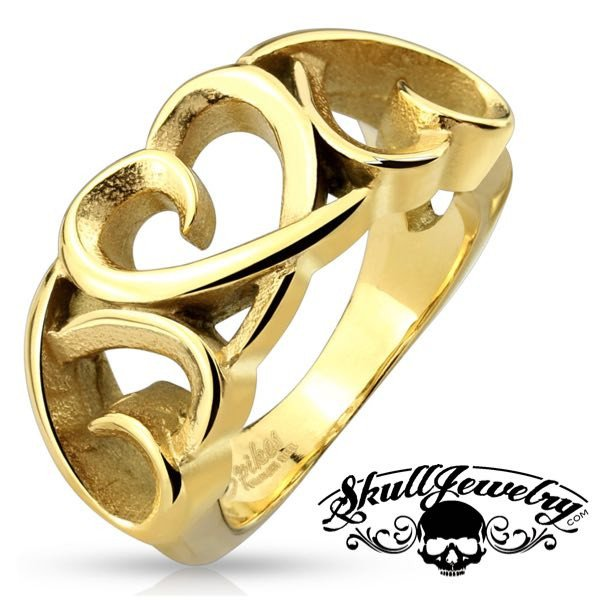 Three Hollow Heart Gold IP Stainless Steel Ring