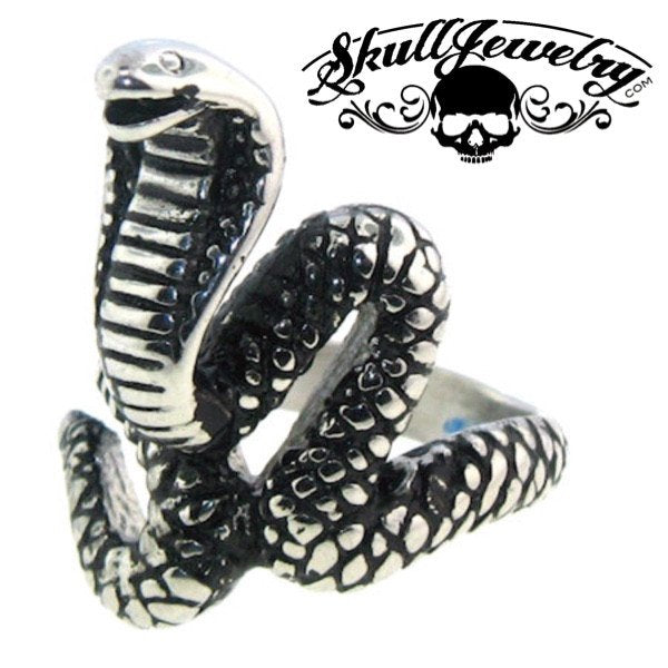 Cobra Snake Biker Ring Stainless Steel