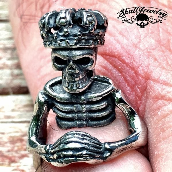 'King of Pain' Stainless Steel Skeleton/Skull Ring Praying